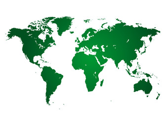 Planisfero verde su fondo bianco