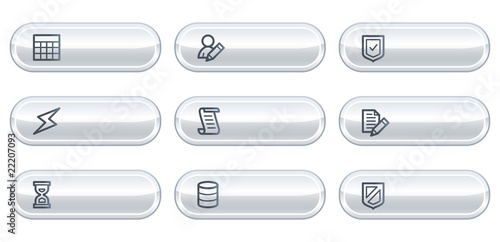 Database web icons,white  buttons with copyspace