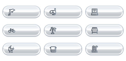 Vacation web icons, white  buttons with copyspace