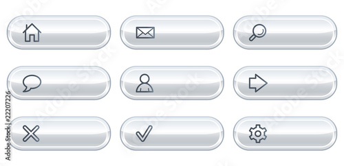 Basic web icons, white  buttons with copyspace