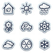 Ecology web icons set 2, deep blue contour sticker series