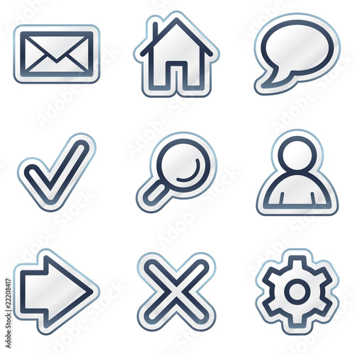 Basic web icons, deep blue contour sticker series