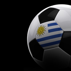 Uruguayan soccer ball over black background