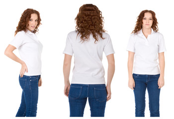 Young redhead woman in white polo shirt and jeans (Multiple angl
