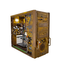 Rusted computer case open