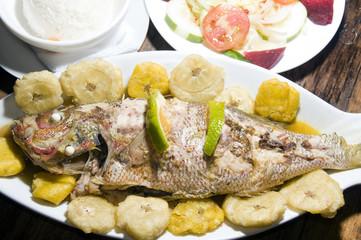 fish dinner with tostones rice salad big corn island nicaragua