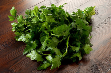 parsley on ancient wood table