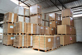 merchandise stacked in a warehouse poster