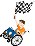 Young handicapped man in wheelchair with winner flag.