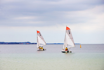 Several boats with sails