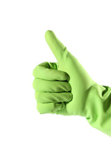 Thumb up hand in green rubber glove