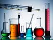 Assorted laboratory glassware equipment