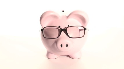 Piggy bank wears glasses - HD