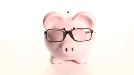 Piggy bank wears glasses - HD