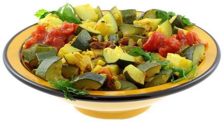 ratatouille de légumes à la marocaine, fond blanc