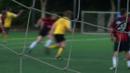 Soccer game goal kick soft focus - HD
