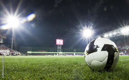 Foto op Canvas Stadion Soccer ball in stadium at night