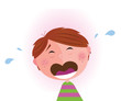 Vector Illustration of lonely small crying boy. VECTOR