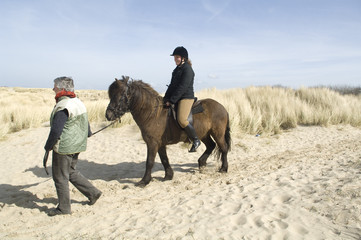 equestrian on horseback on the beach