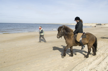 Two equestrian on horseback on the beach