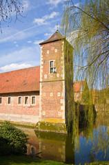 Renaissance castle Burg Hülshoff, Münsterland, Europe.