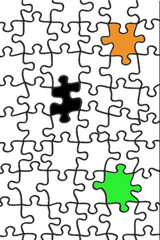 White puzzle with color form