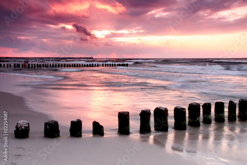 Calmness.Beautiful sunset at Baltic sea. - 22254087