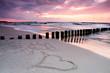 Calmness.Beautiful sunset with symbol of love.