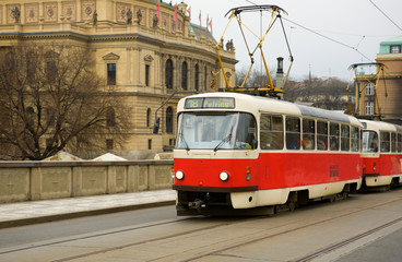 Famous red tram in Prague, Czech Republic