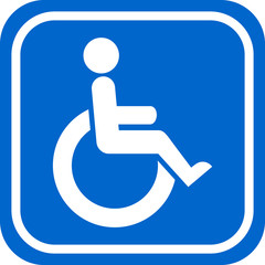 White and blue handicapped person vector sign.