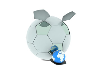 Soccer ball and Earth