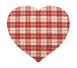 Heart shape made of textile plaid material red and white