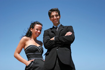 Young couple doing business