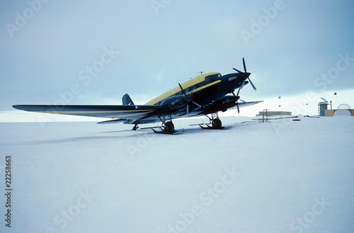 skiplane parked at Antarctic Research Station