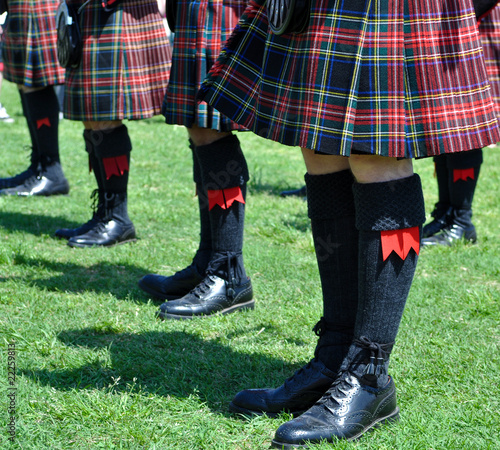 Plaid Scottish Kilts, Socks and Shoes
