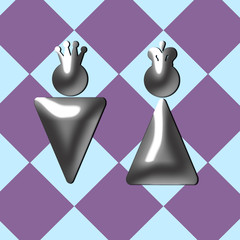 abstract chess king and queen