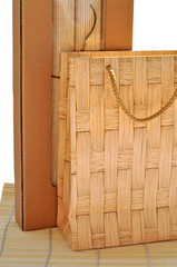 Paper package on bamboo mat