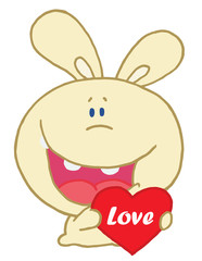 Yellow Rabbit Laughing And Holding a Red Heart Love Valentine