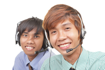 Two Asian call center agents