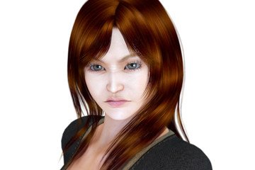 3D beautiful woman - anger