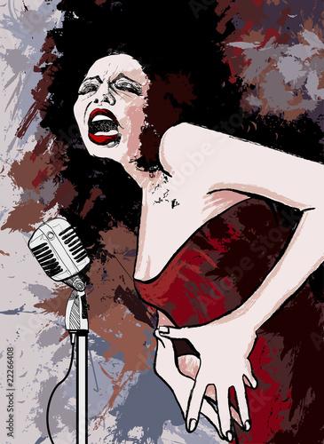 wokalistka jazzowa na tle grunge
