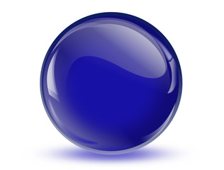 Ball reflection, 3d blue