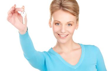 happy woman with keys