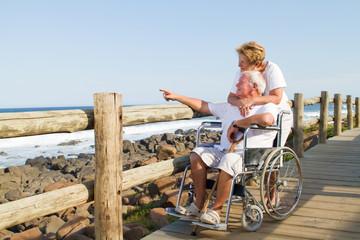 loving senior couple on beach