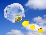 Flying moneybox against blue sky and falling golden coins. poster