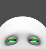 white peeping lurking creature with green eyes poster