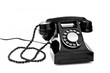 black retro telephone on white