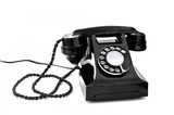 black retro telephone on white