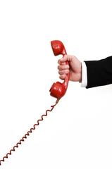 holding red retro telephone