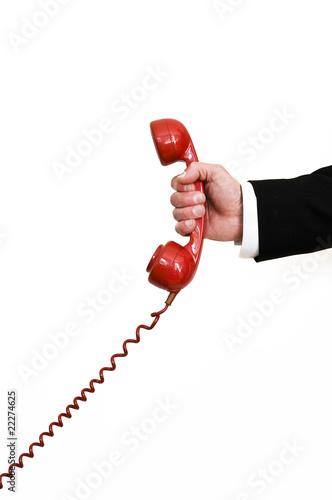 holding red retro telephone